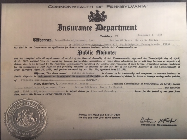 Public Adjuster License - 5 Dec 1988